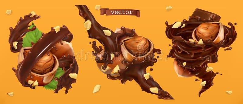 Hazelnuts i czekolad pluśnięcia 3d wektor royalty ilustracja
