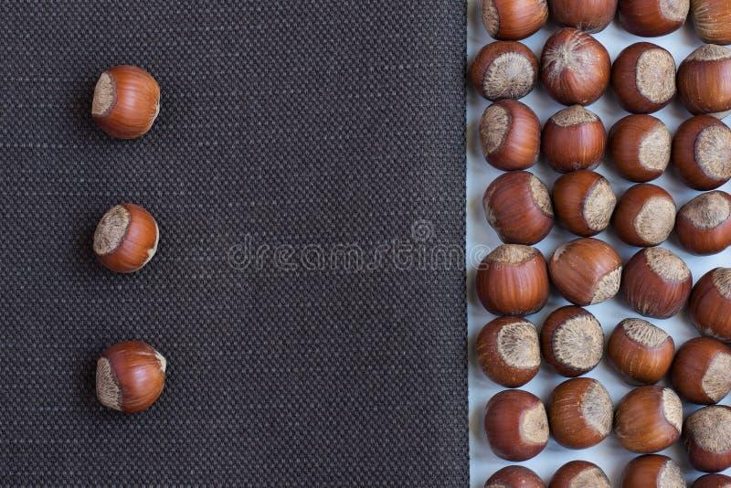 Hazelnuts na brown tkaninie obraz royalty free