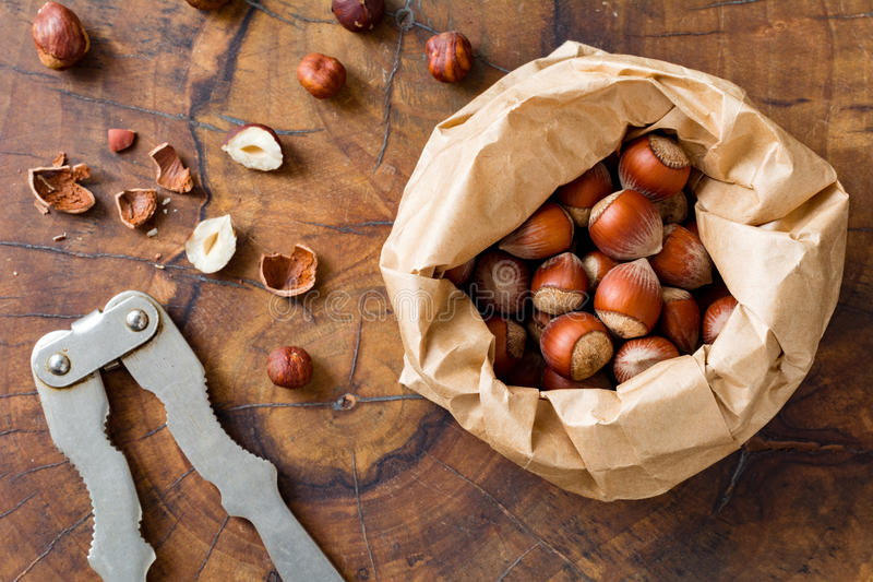 Hazelnuts and nutcracker royalty free stock images