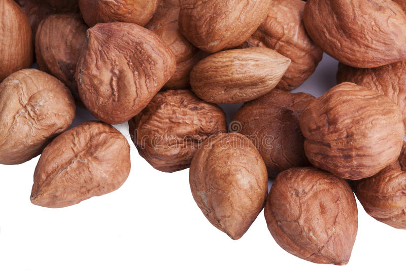 Hazelnuts in a pile, isolated stock photos