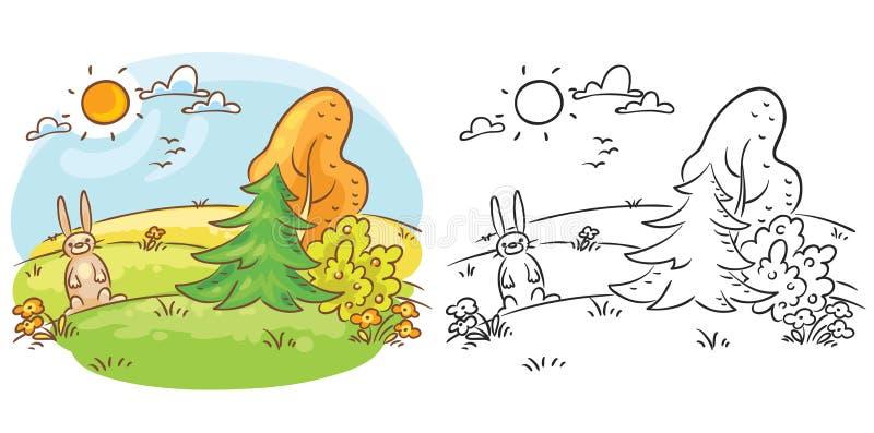 Hazen in de wildernis op een zonnige gekleurd als zwart-witte dag, zowel royalty-vrije illustratie