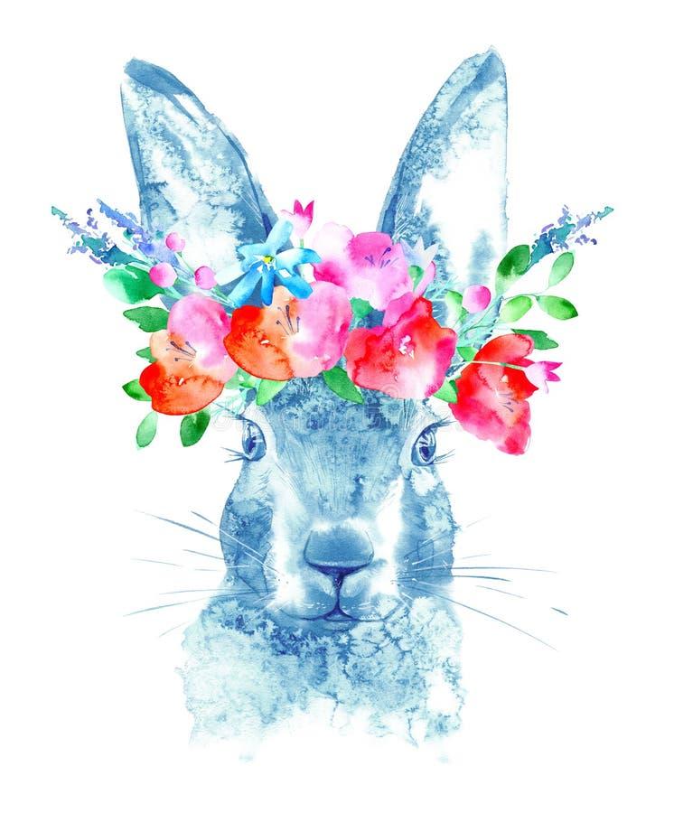 Hazen en bloemenkroon Wild dierlijk beeld vector illustratie