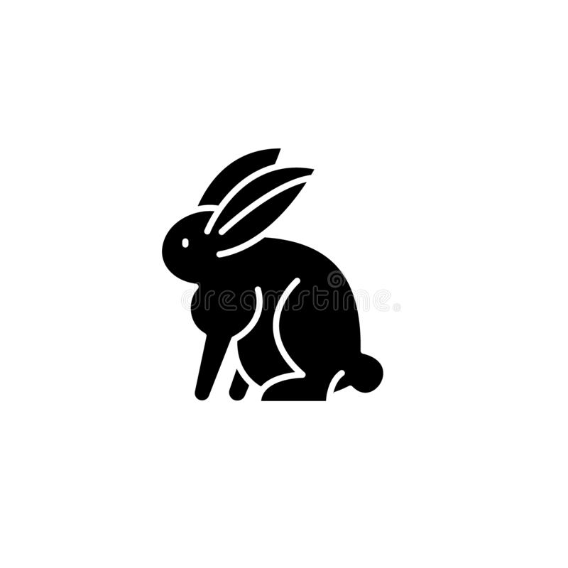 Hazen zwart pictogram, vectorteken op geïsoleerde achtergrond Het symbool van het hazenconcept, illustratie royalty-vrije illustratie