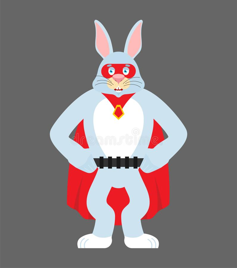 Hazensuperhero Super konijn in masker en regenjas Sterk konijntje royalty-vrije illustratie