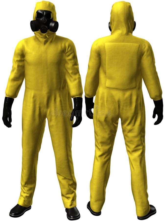 HAZMAT Suit, Hazardous Material, Isolated. Illustration of a yellow HAZMAT suit used to protect people when handling hazardous material. Isolated on white royalty free illustration