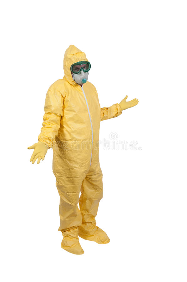 Hazmat Suit. Man wearing a hazmat suit in the face of infectious disease stock images
