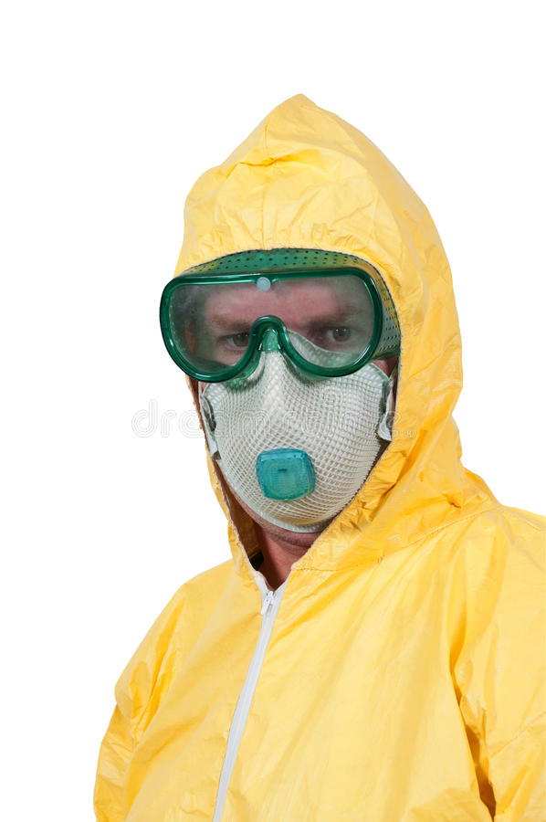 Hazmat Suit. Man wearing a hazmat suit in the face of infectious disease royalty free stock photo