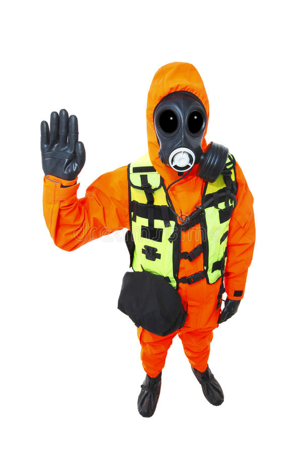 Hazmat suit stop hand signal coronavirus corona virus corvid 19. Orange full body hazmat suit with gas mask with a stop hand signal on white.  coronavirus corona stock image