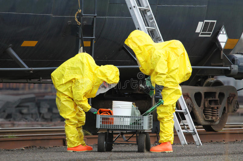 HAZMAT Team Checks Cart images stock