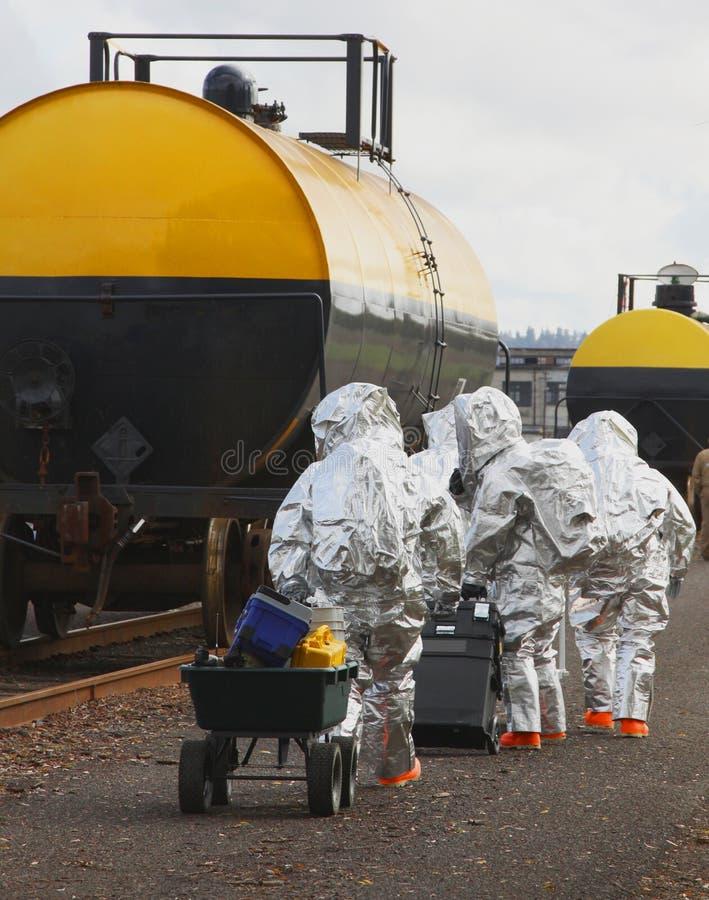 HAZMAT Team Members Travel To Scene stockbild