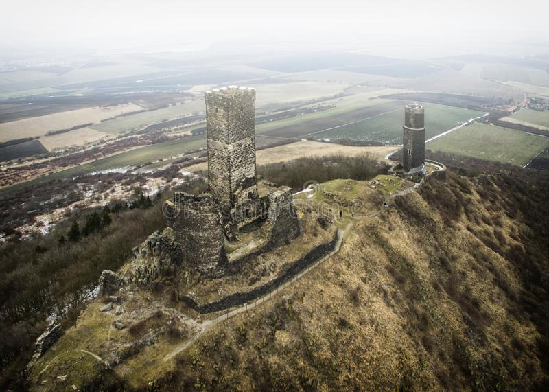 Hazmburk - aerial drone view of medieval castle stock photos