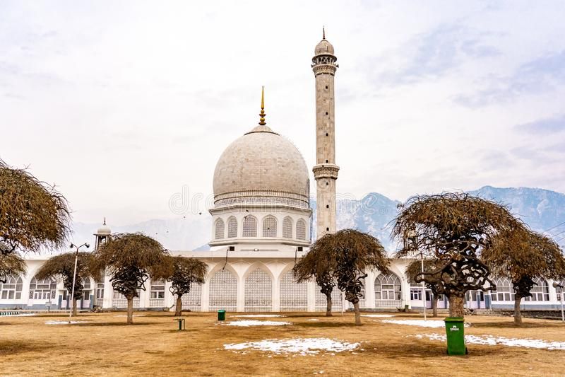 Hazratbal Shrine . One of the famous building in Srinagar during winter evening , Srinagar , Kashmir , India