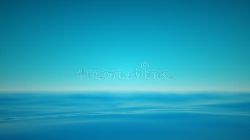 Hazy blue sea with realxing calm waves. The realxing blue waters of the sea with a blurred hazy horizon. A 3D rendering stock illustration