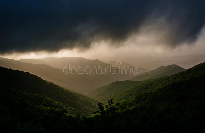 Hazy evening view of the Blue Ridge Mountains from the Blue Ridge Parkway, near Craggy Gardens in North Carolina. stock images