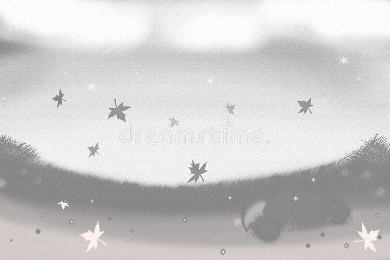 A hazy field. It's a field with a dark haziness and falling maple tree leaves royalty free illustration