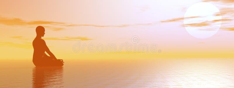 Hazy meditation. Man meditating upon the ocean by beautiful hazy sunset vector illustration