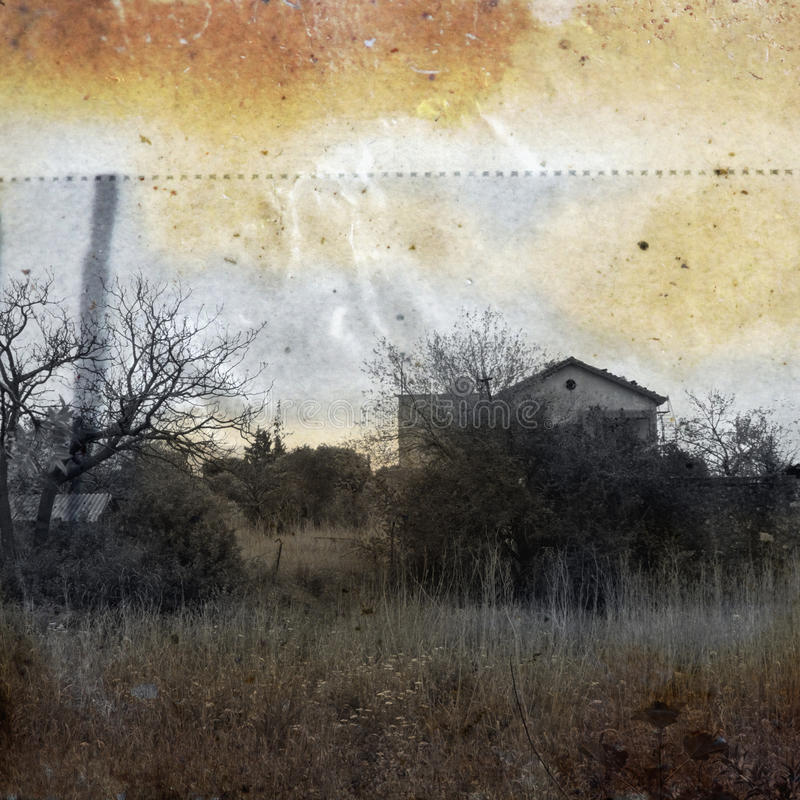 Hazy memory. Abandoned rural house. Vintage print on stained weathered paper illustration royalty free illustration