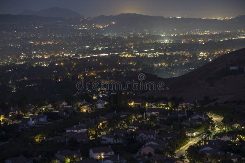 Hazy Night View Simi Valley California foto de stock royalty free