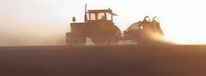 Hazy Tractor royalty free stock image