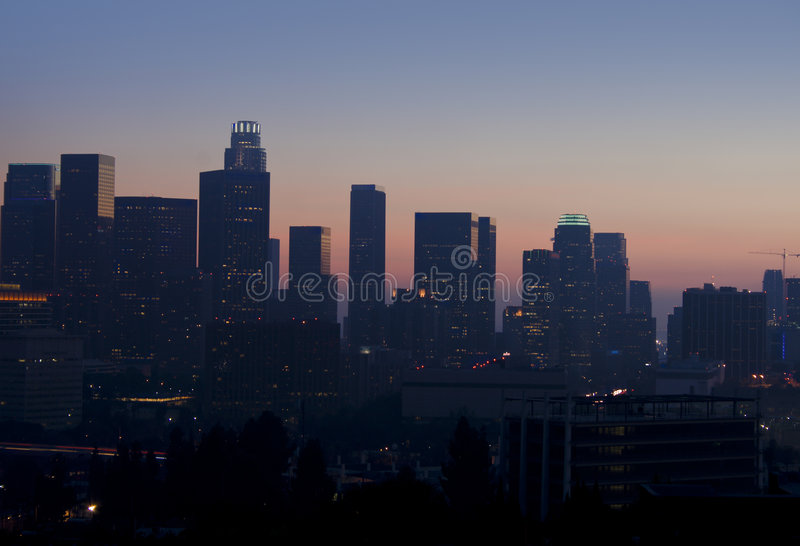 Download Hazy View Of Los Angeles Skyline At Sunset Stock Photo - Image: 7782860