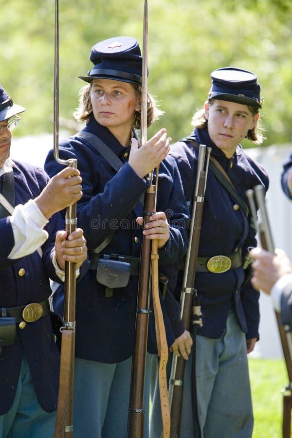 HB Civil War Re-Enactment 42 - Women Re-enactors stock photo