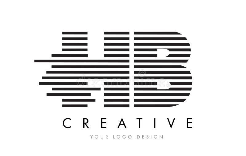 HB H B Zebra Letter Logo Design with Black and White Stripes vector illustration