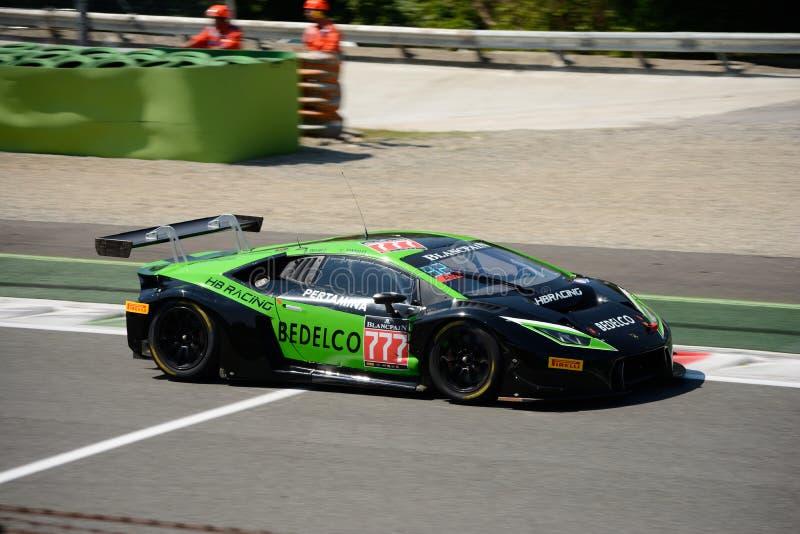 HB Lamborghini que compite con Huracan GT3 del equipo en Monza fotografía de archivo libre de regalías