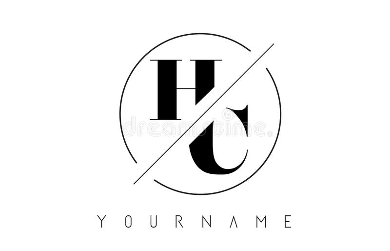 HC Letter Logo with Cutted and Intersected Design. And Round Frame Vector Illustration vector illustration