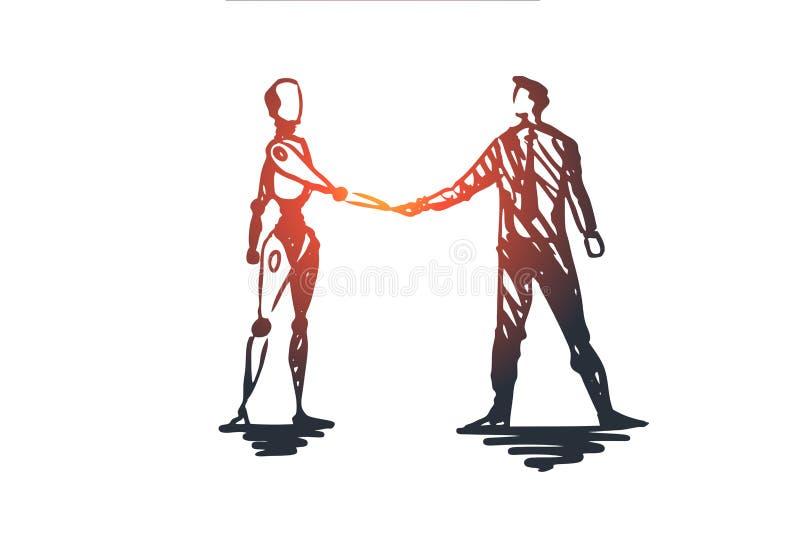 HCI, automatización, negocio, cyborg, concepto de la cooperación Vector aislado dibujado mano ilustración del vector