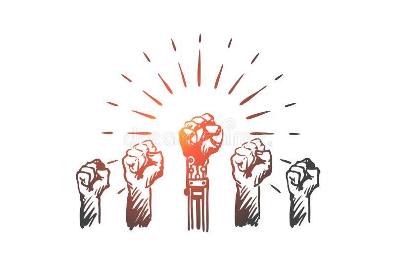 HCI, automatyzacja, technologia, drużyna, przywódctwo pojęcie Ręka rysujący odosobniony wektor royalty ilustracja