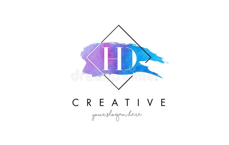 HD καλλιτεχνικό λογότυπο βουρτσών επιστολών Watercolor διανυσματική απεικόνιση