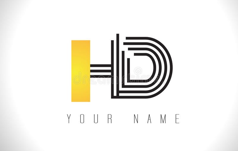 HD Black Lines Letter Logo. Creative Line Letters Vector Templat. HD Black Lines Letter Logo. Creative Line Letters Design Vector Template stock illustration
