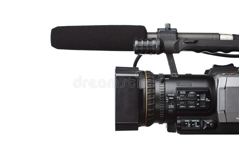 HD camcorder. With gun microphone isolated on white royalty free stock photos