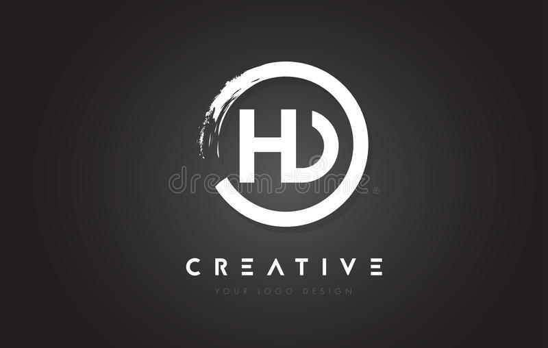 HD Circular Letter Logo with Circle Brush Design and Black Background. vector illustration