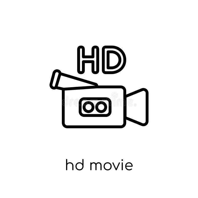 HD-filmpictogram In modern vlak lineair vectorhd-filmpictogram  royalty-vrije illustratie