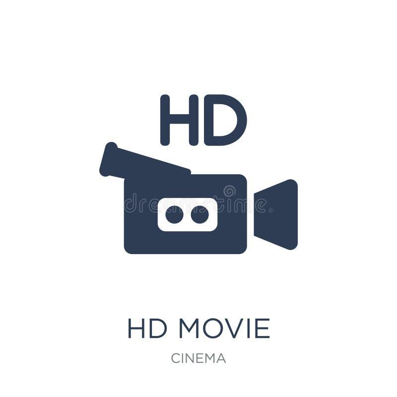HD filmu ikona Modna płaska wektoru HD filmu ikona na białym backgro ilustracja wektor