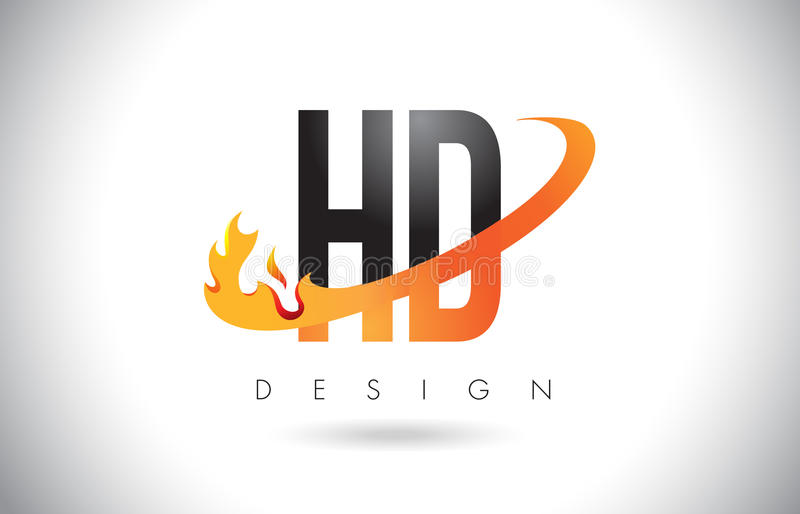 HD H D Letter Logo with Fire Flames Design and Orange Swoosh. HD H D Letter Logo Design with Fire Flames and Orange Swoosh Vector Illustration royalty free illustration