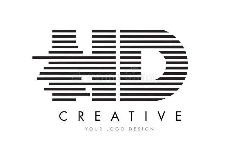 HD H D Zebra Letter Logo Design with Black and White Stripes vector illustration