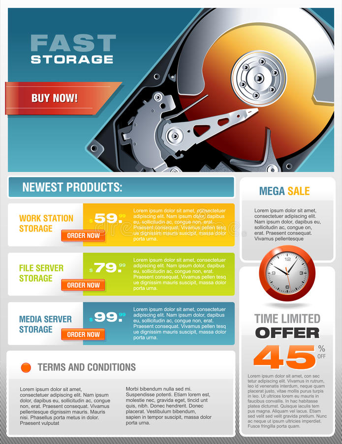 Hd Hard Disk Sale Promotional Brochure Vector Stock Vector