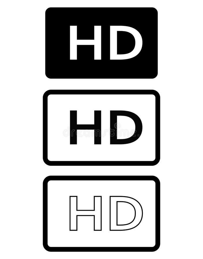 HD ikona w modnym mieszkanie stylu odizolowywającym na białym tle royalty ilustracja