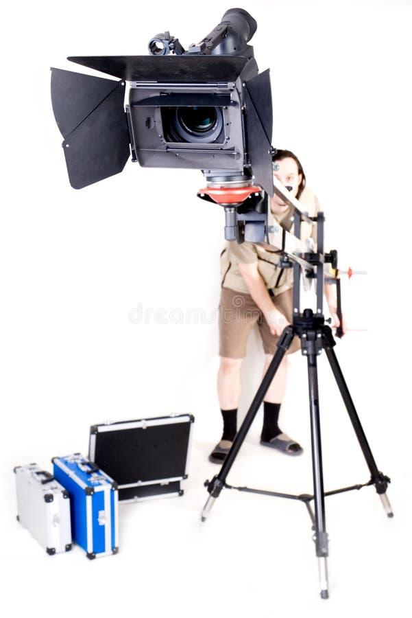 Hd Kamerarecorder auf Kran lizenzfreies stockfoto