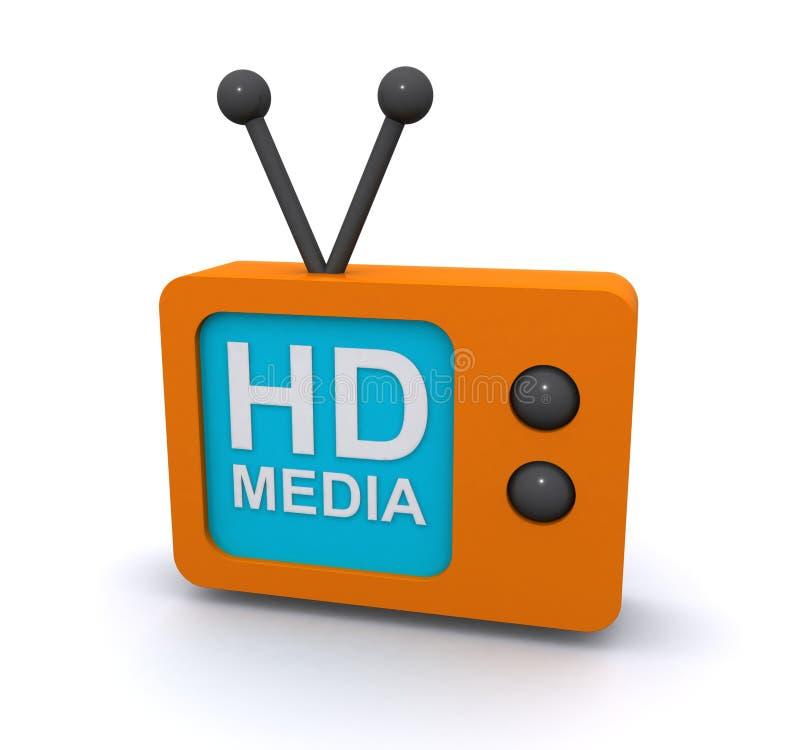 HD media television sign stock illustration