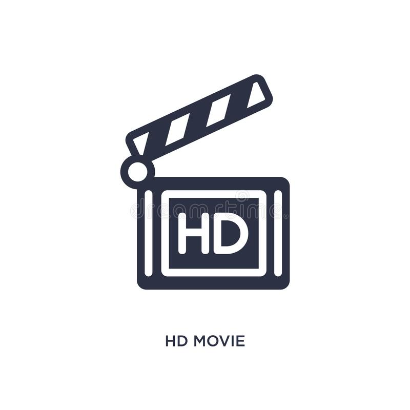 hd movie icon on white background. Simple element illustration from cinema concept stock illustration