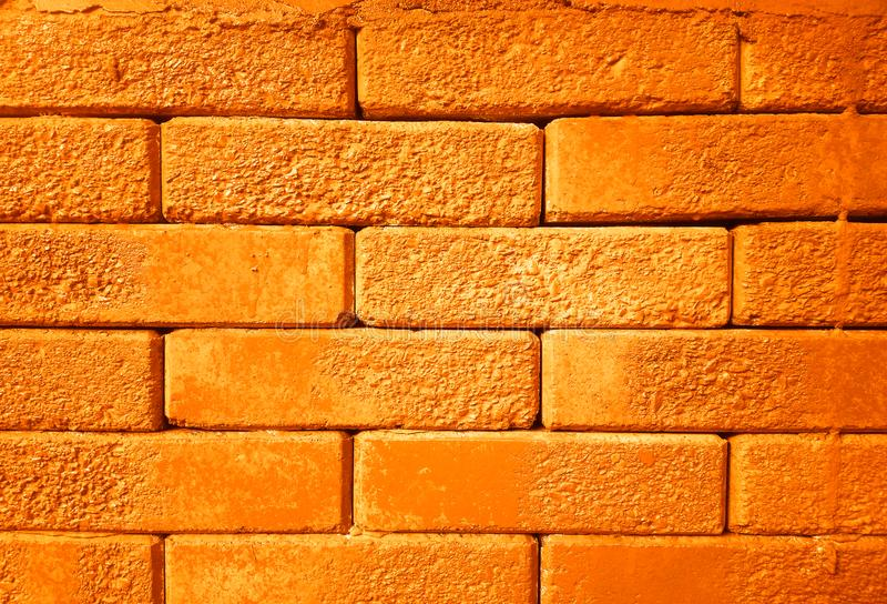 Hd orange horizontal de fond de texture de mur de briques photos stock