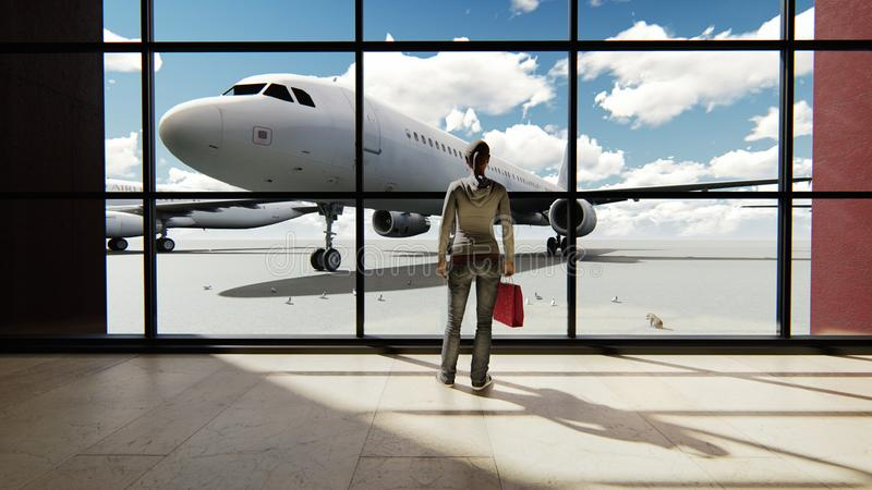 Silhouette of a tourist girl watching the plane, standing at the airport window at sunrise. 3D Rendering stock illustration