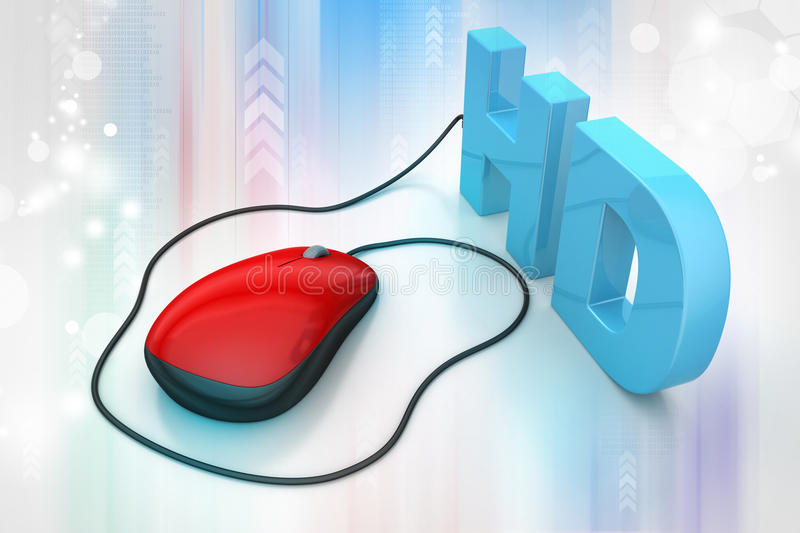Hd Text Connected With Computer Mouse Stock Illustration