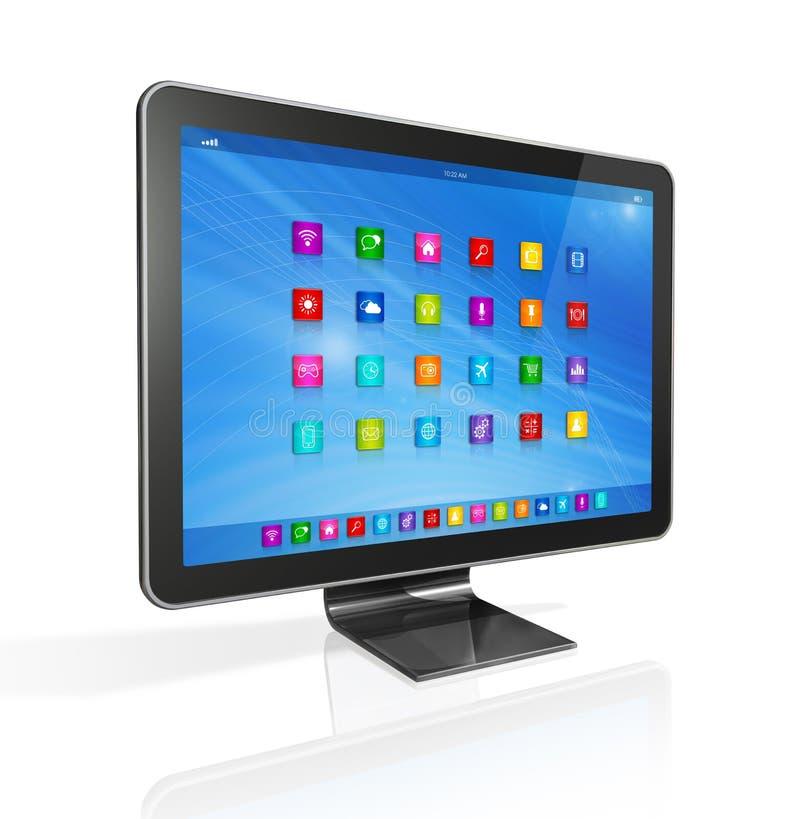 HD TV apps ikon interfejs - komputer - royalty ilustracja