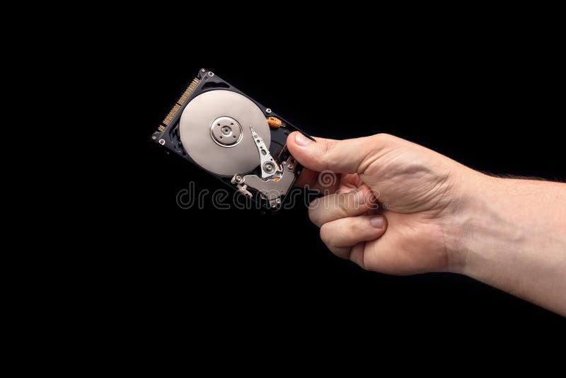 HDD Öffnen Sie Festplatte in der Hand lizenzfreies stockbild