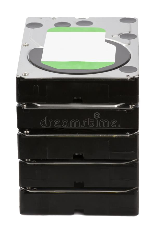 HDD Διάφοροι σκληροί δίσκοι στο απομονωμένο άσπρο υπόβαθρο στοκ εικόνες