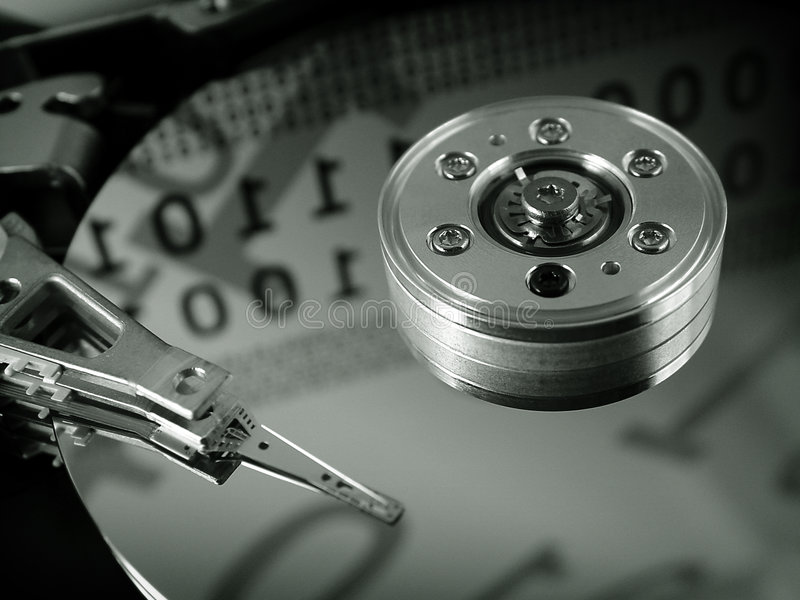HDD. The inside of a hard drive royalty free stock photos